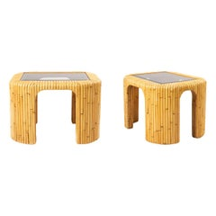 Pair of Midcentury Style Rattan and Smoked Glass Side Tables