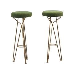 Pair of Midcentury Style Stools Italian Design Brass Gold Solid Green Velvet