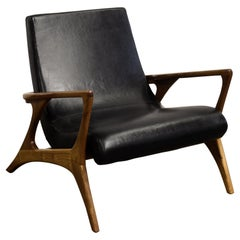 Pair of Midcentury Style Teak and Leather Club Chair, Great Scale for Comfort