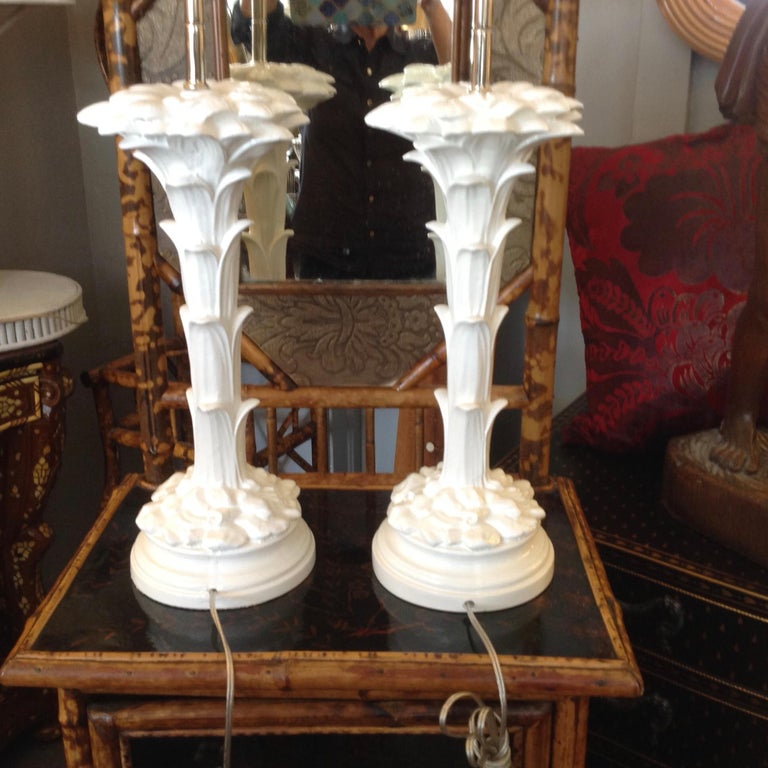 Painted Pair of Midcentury Stylized Palm Tree Lamps For Sale