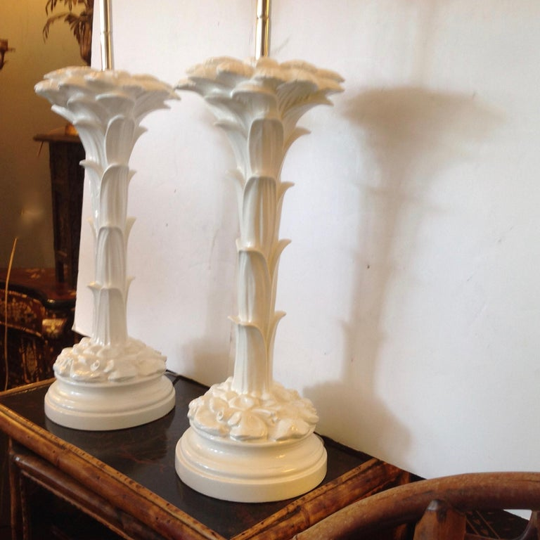Pair of Midcentury Stylized Palm Tree Lamps In Good Condition For Sale In West Palm Beach, FL