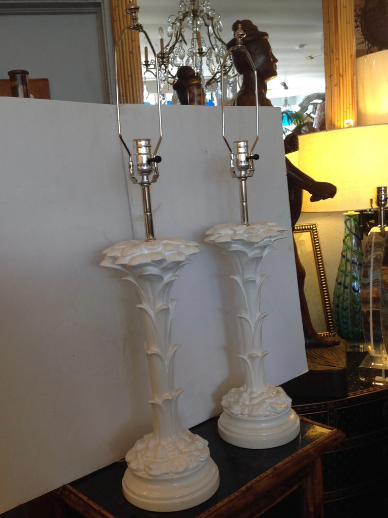 Metal Pair of Midcentury Stylized Palm Tree Lamps For Sale