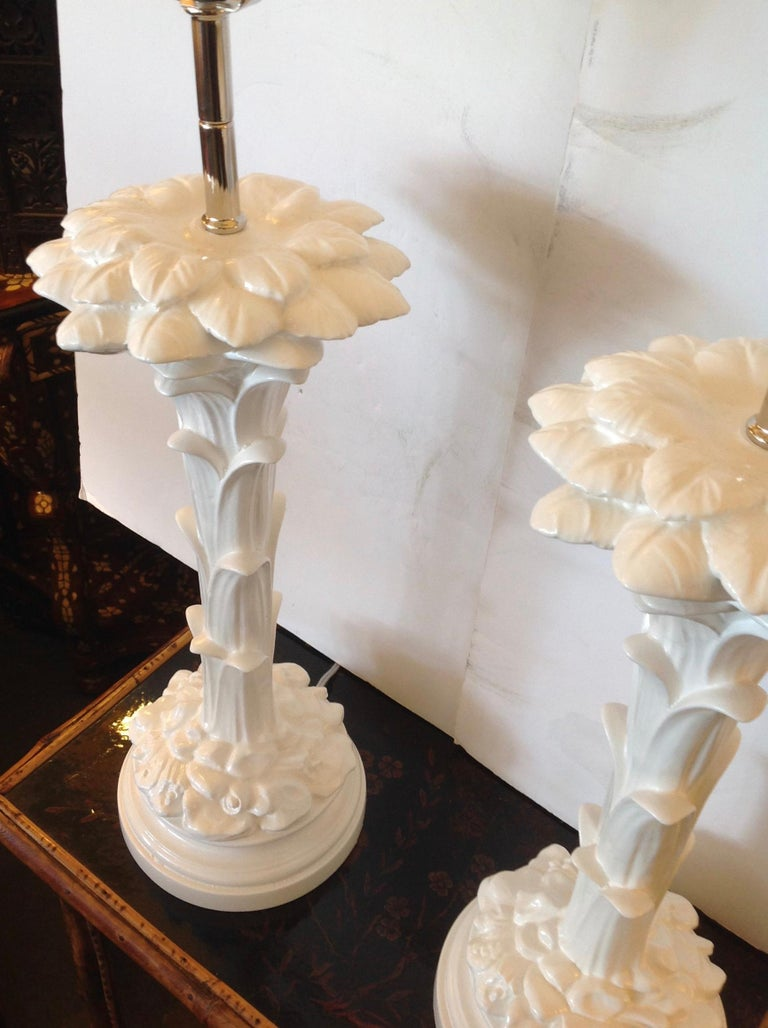 Pair of Midcentury Stylized Palm Tree Lamps For Sale 1