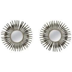 Pair of Midcentury Sunburst / Soleil Mirrors, Silver with Golden Bronze Accents