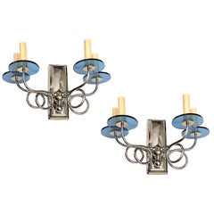 Pair of Midcentury Swirling Arm Sconces