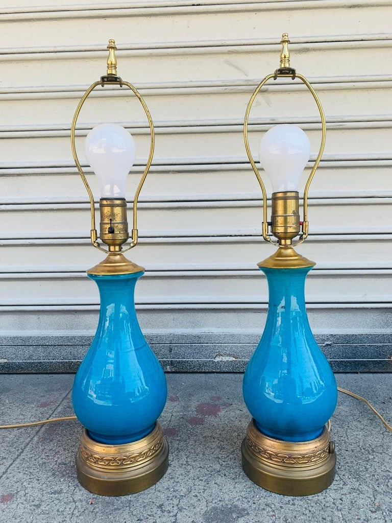 Mid-Century Modern Pair of Midcentury Table Lamps attb to Bitossi For Sale