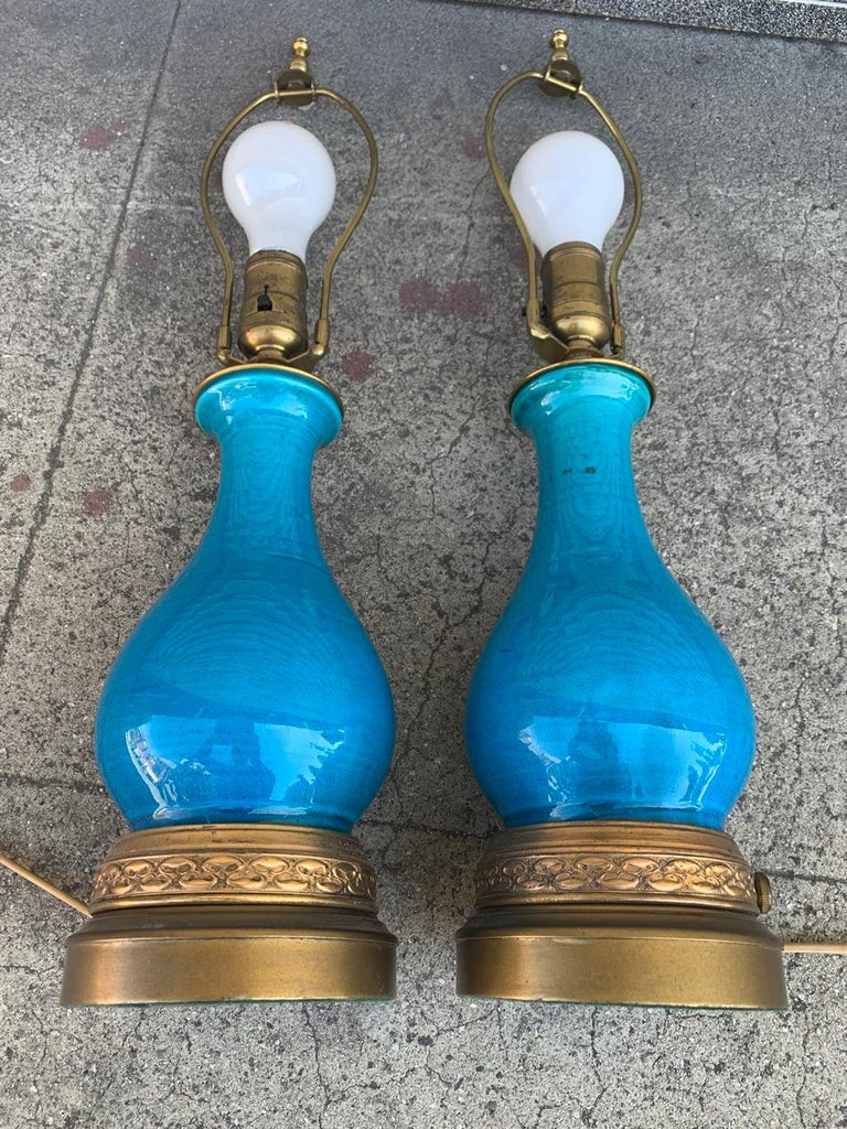 Italian Pair of Midcentury Table Lamps attb to Bitossi For Sale