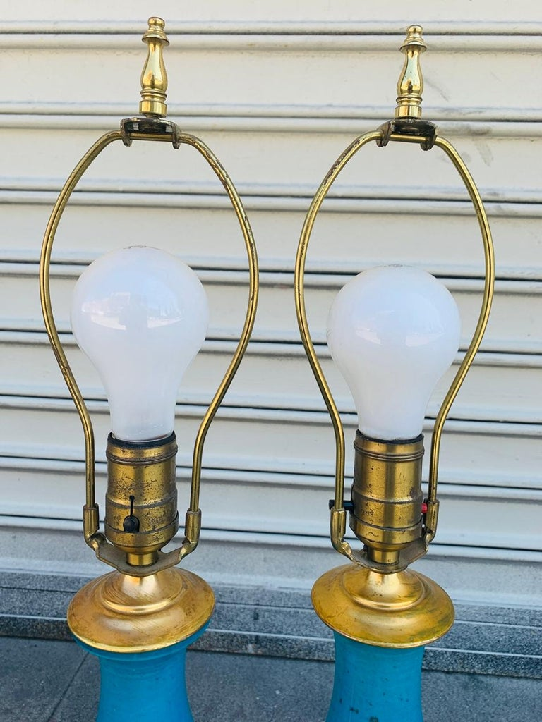 Brass Pair of Midcentury Table Lamps attb to Bitossi For Sale