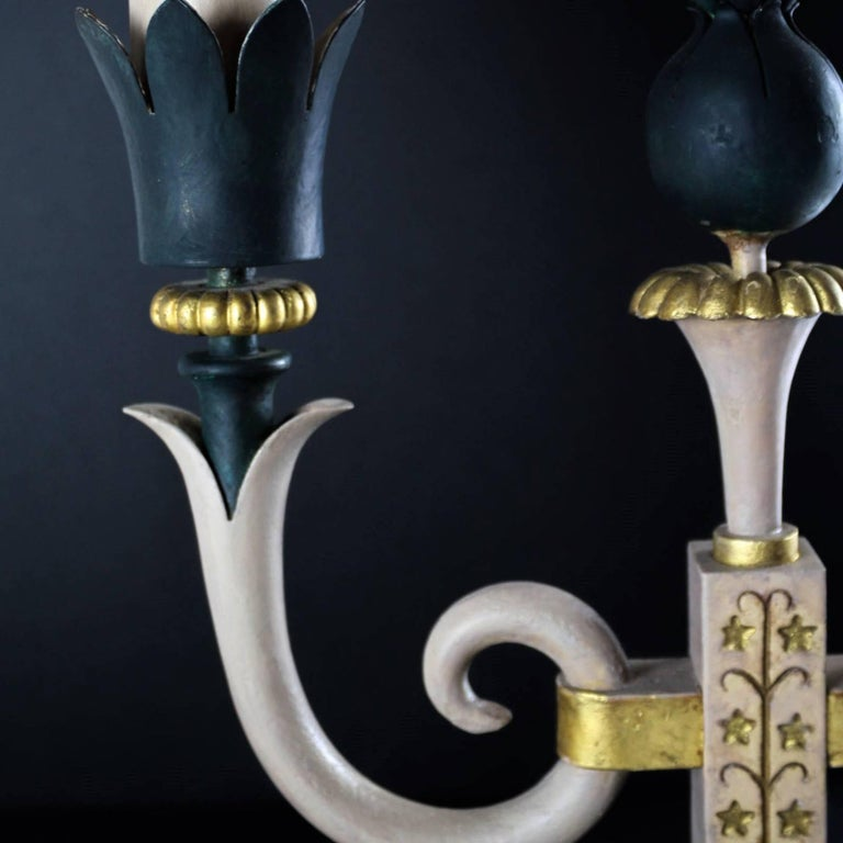 Pair of Midcentury Table Lamps in Iron, Style of Gilbert Poillerat, circa 1943 For Sale 3