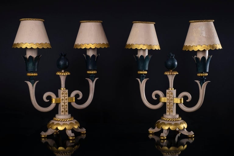 Neoclassical Pair of Midcentury Table Lamps in Iron, Style of Gilbert Poillerat, circa 1943 For Sale