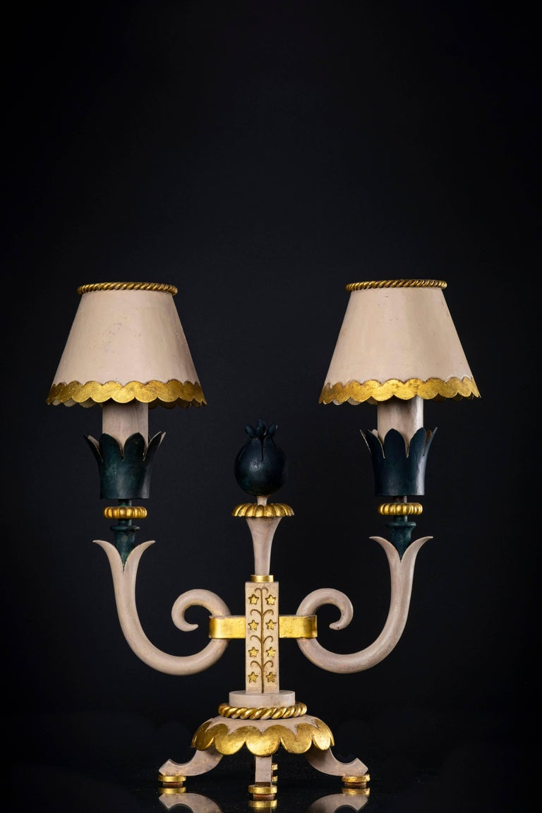 French Pair of Midcentury Table Lamps in Iron, Style of Gilbert Poillerat, circa 1943 For Sale