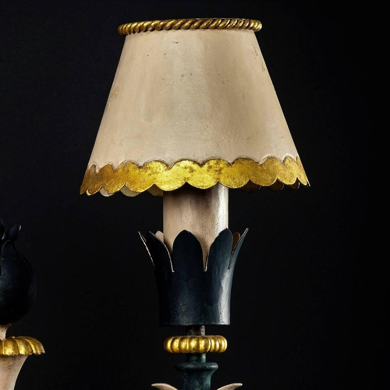 Pair of Midcentury Table Lamps in Iron, Style of Gilbert Poillerat, circa 1943 In Good Condition For Sale In Miami, FL