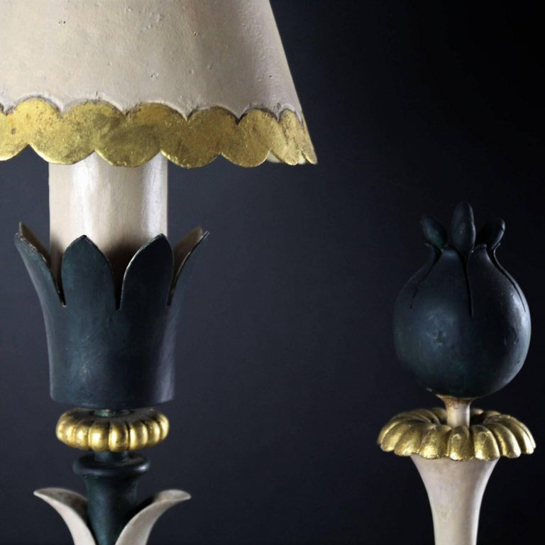Pair of Midcentury Table Lamps in Iron, Style of Gilbert Poillerat, circa 1943 For Sale 1