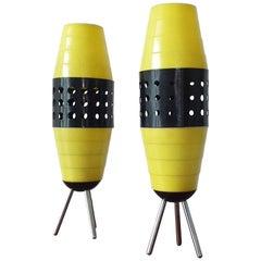 Pair of Midcentury Table Lamps, Rockets, Pokrok Žilina, 1970s