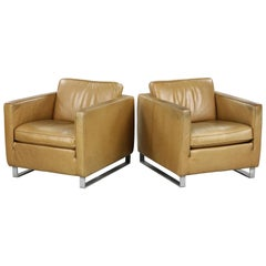 Mid-century Tan Leather Club Chairs