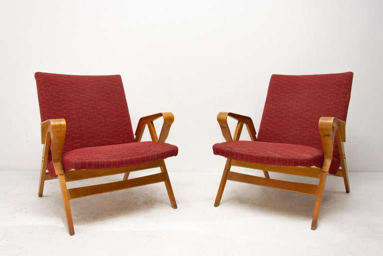 Pair of Midcentury Tatra Bentwood Armchairs, Czechoslovakia, 1960s In Good Condition For Sale In Prague 8, CZ