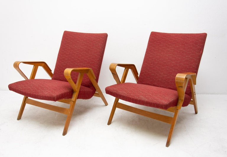 Fabric Pair of Midcentury Tatra Bentwood Armchairs, Czechoslovakia, 1960s For Sale