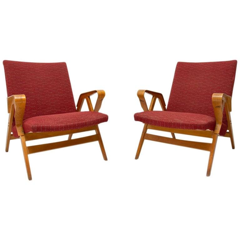 Pair of Midcentury Tatra Bentwood Armchairs, Czechoslovakia, 1960s For Sale
