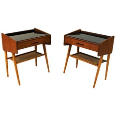 Pair of Midcentury Teak and Glass Top Night Tables, Sweden, 1960s
