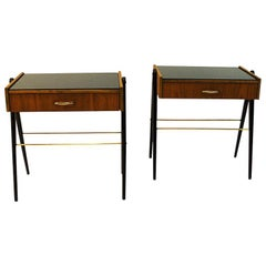 Pair of Midcentury Teak and Glastop Night Tables, Sweden, 1960s