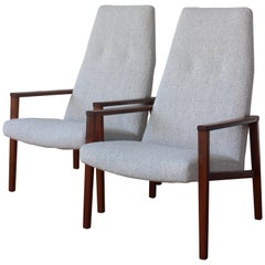 Pair of Midcentury Teak Lounge Chairs, Denmark, 1960s