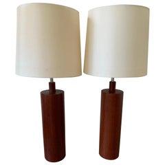 Pair of Midcentury Teak Table Lamps