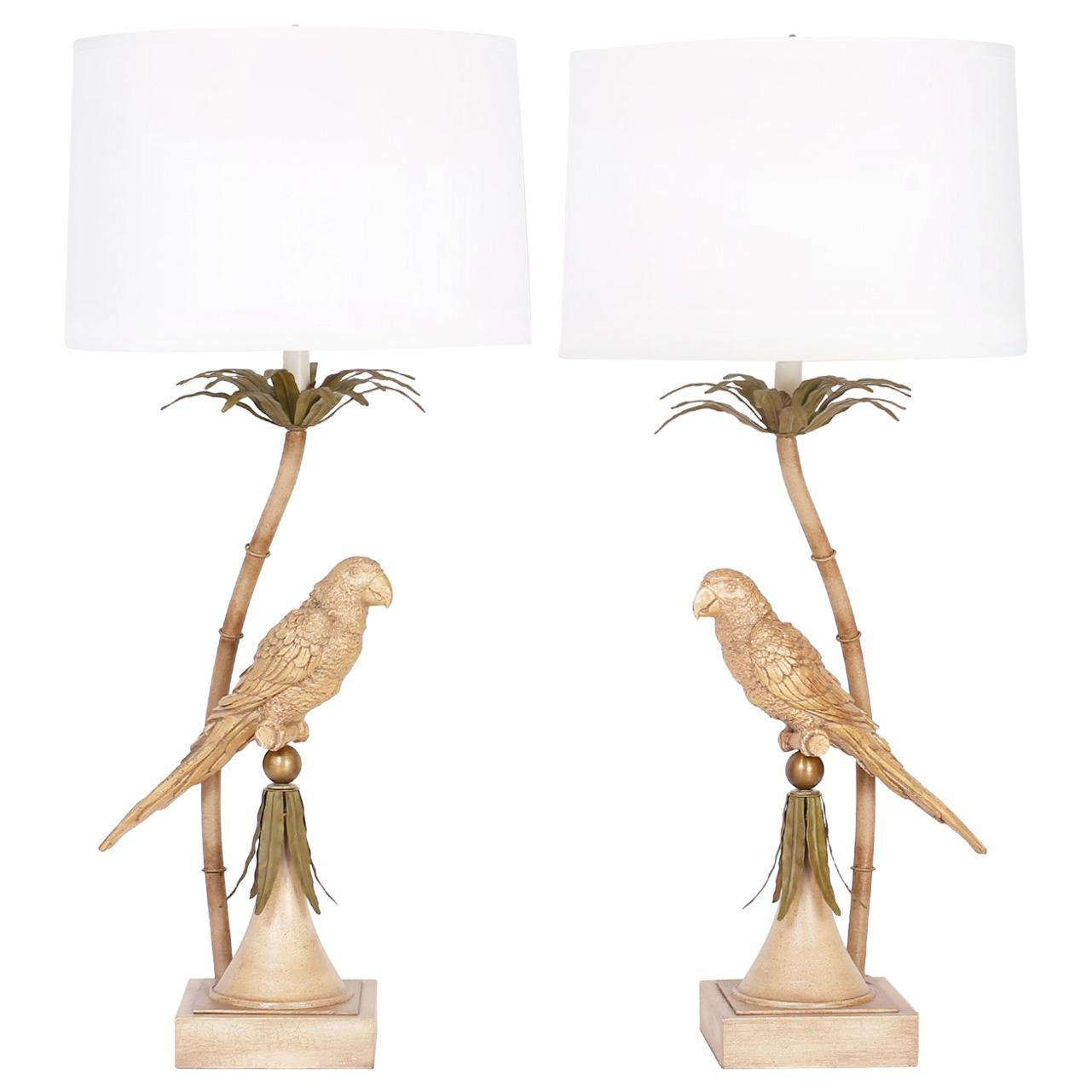Pair of Midcentury Tole Parrot Table Lamps