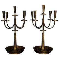 Pair of Midcentury Tommi Parzinger Candelabras for Dorlyn Silversmiths