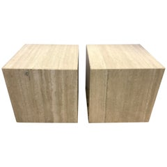 Pair of Midcentury Travertine Cube End Tables Stools Cocktail Table Italy