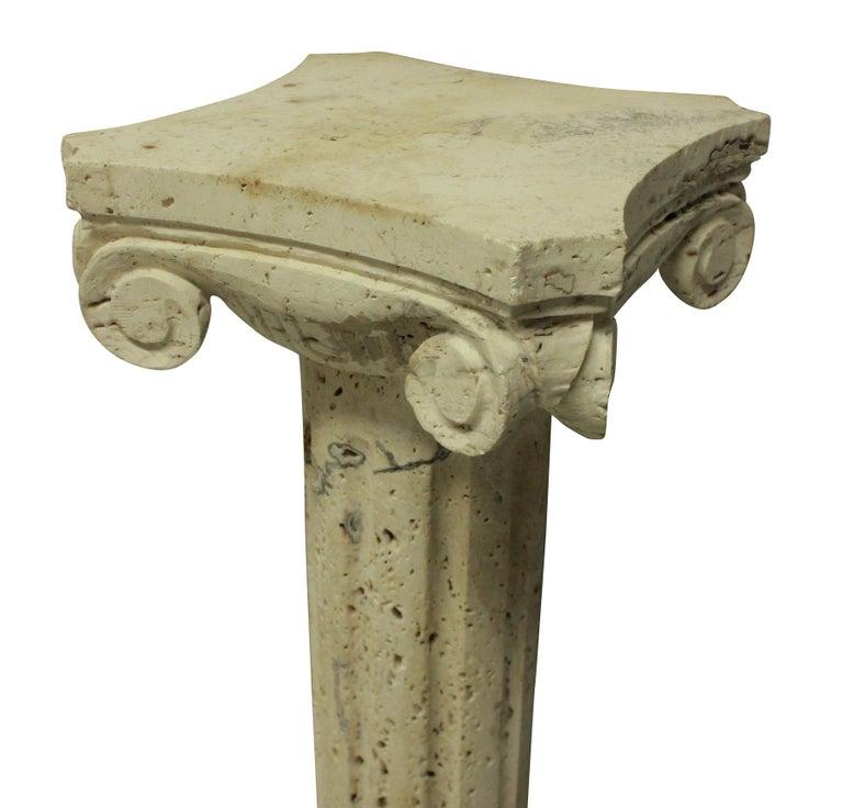 Italian Pair of Midcentury Travertine Marble Column Pedestals