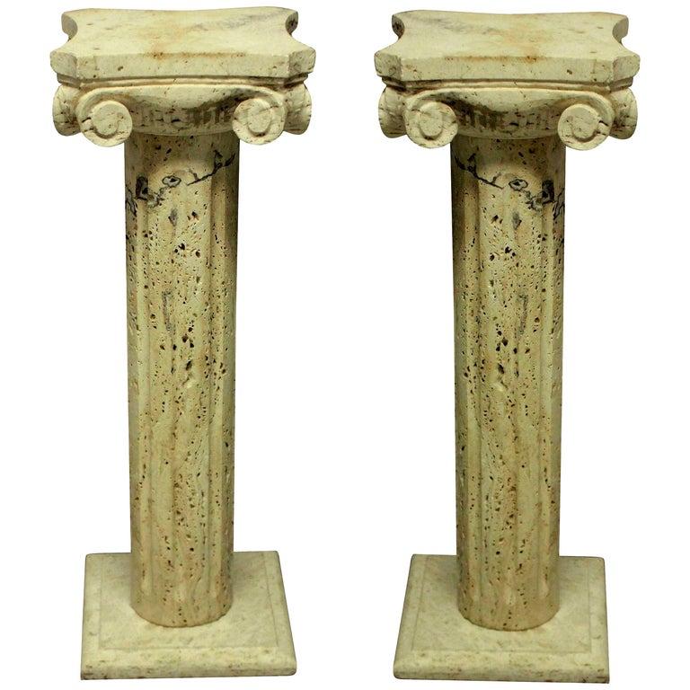 Pair of Midcentury Travertine Marble Column Pedestals