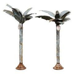 Pair of Midcentury Tropical Painted Metal Palm Tree Sculptures