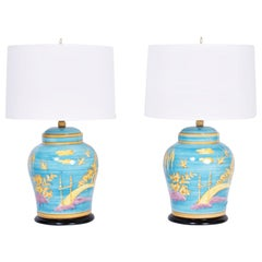 Pair of Midcentury Turquoise Chinoiserie Table Lamps