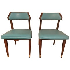 Pair of Midcentury Turquoise Walnut Desk or Occasional Side Chairs, 1960