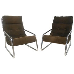 Pair of Midcentury Upholstered Lounge Chairs