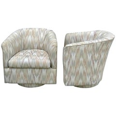 Pair of Midcentury Upholstered Swivel Chairs, in the Style of Milo Baughman