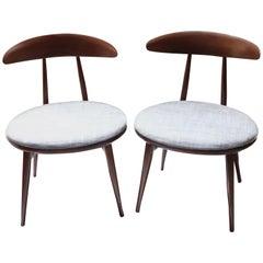 Pair of Midcentury Upholstered Wood Chairs by Heywood Wakefield