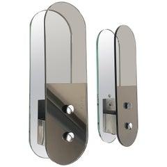 Pair of Midcentury Veca Oval Brown Italian Mirror Glass Wall Lights, 1960s