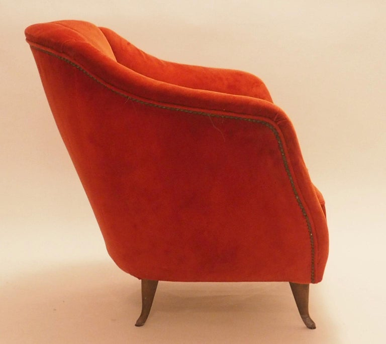 Cast Pair of Midcentury Velvet Italian Armchairs with Typical ISA Feet, Italy, 1950s For Sale