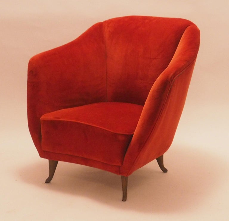 Mid-20th Century Pair of Midcentury Velvet Italian Armchairs with Typical ISA Feet, Italy, 1950s For Sale