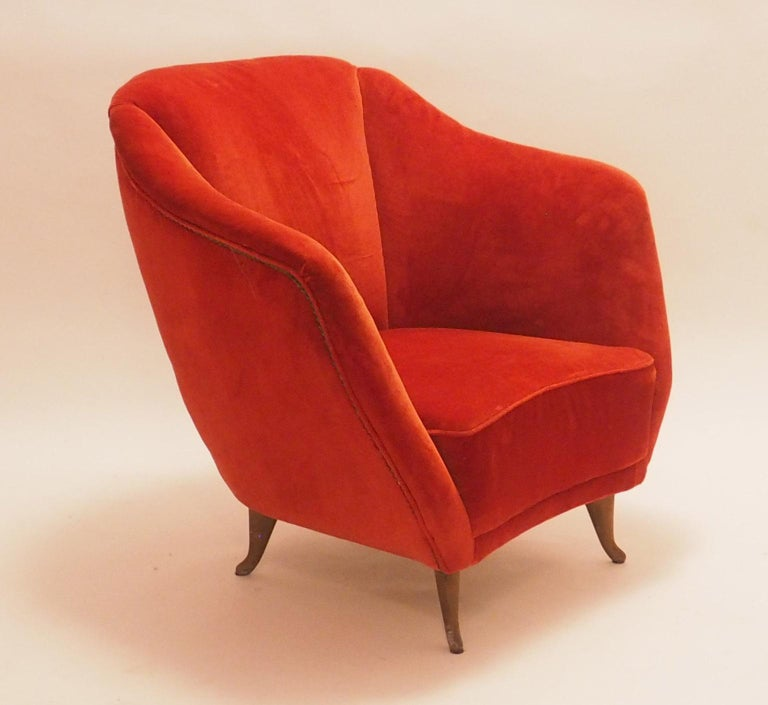 Pair of Midcentury Velvet Italian Armchairs with Typical ISA Feet, Italy, 1950s For Sale 2