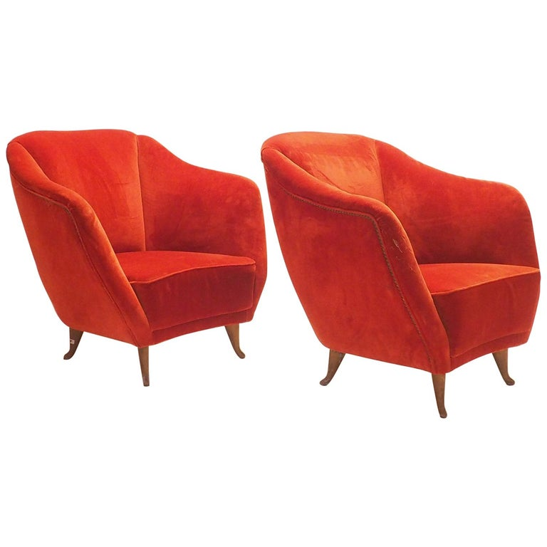 Pair of Midcentury Velvet Italian Armchairs with Typical ISA Feet, Italy, 1950s For Sale