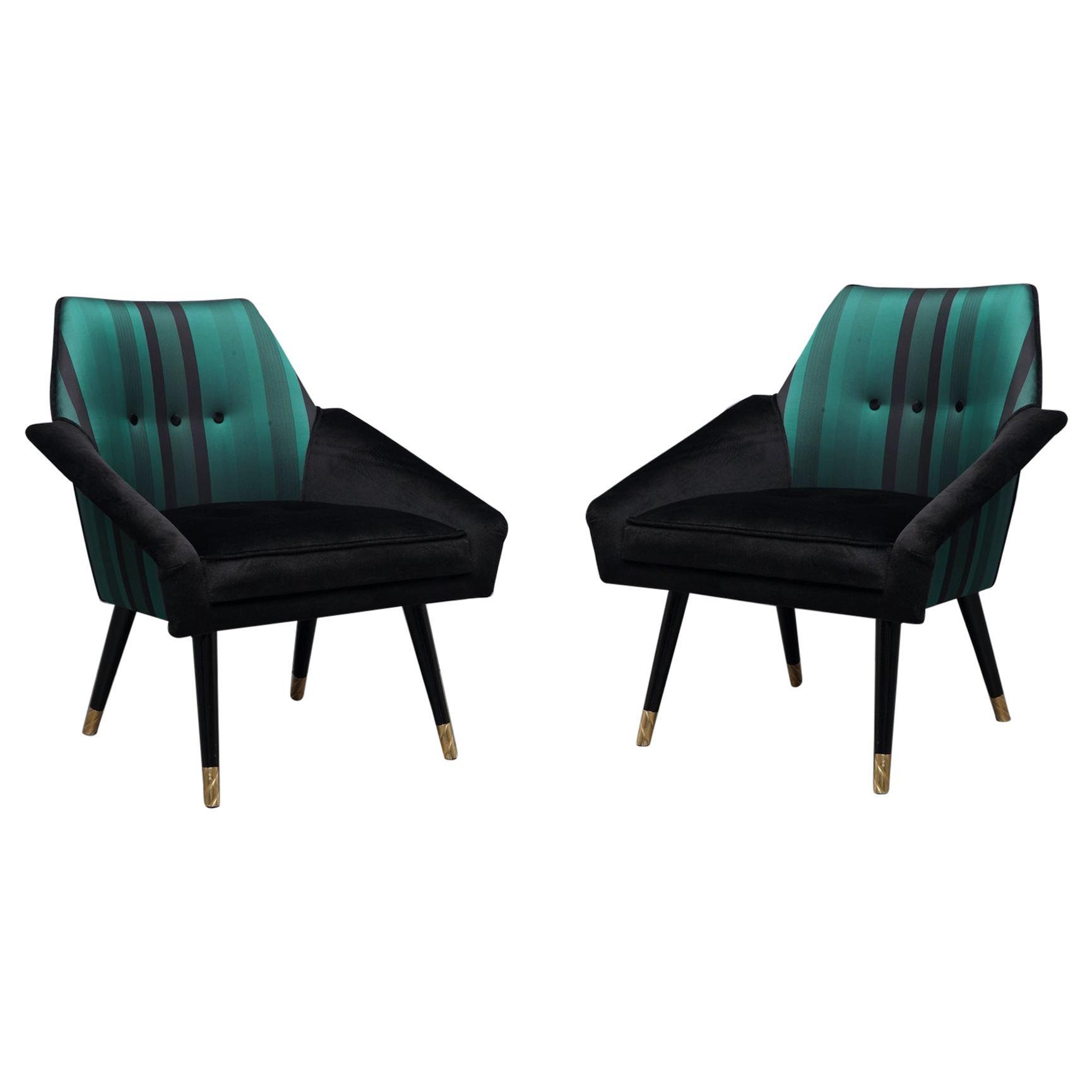 Pair of Midcentury Velvet Silk and Brass Armchairs, 1950