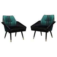 Pair of Midcentury Velvet Silk and Brass Armchairs, 1950