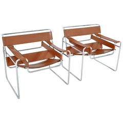 Pair of Midcentury Vintage Wassily Chairs by Marcel Breuer and Produced by Knoll