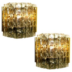 Pair of Midcentury Wall Lamps in Brass and Glass, 1970s