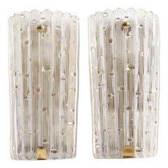 Pair of Midcentury Wall Sconces Designed by Carl Fagerlund for Orrefors Glass