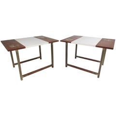 Pair of Midcentury Walnut and Formica End Tables