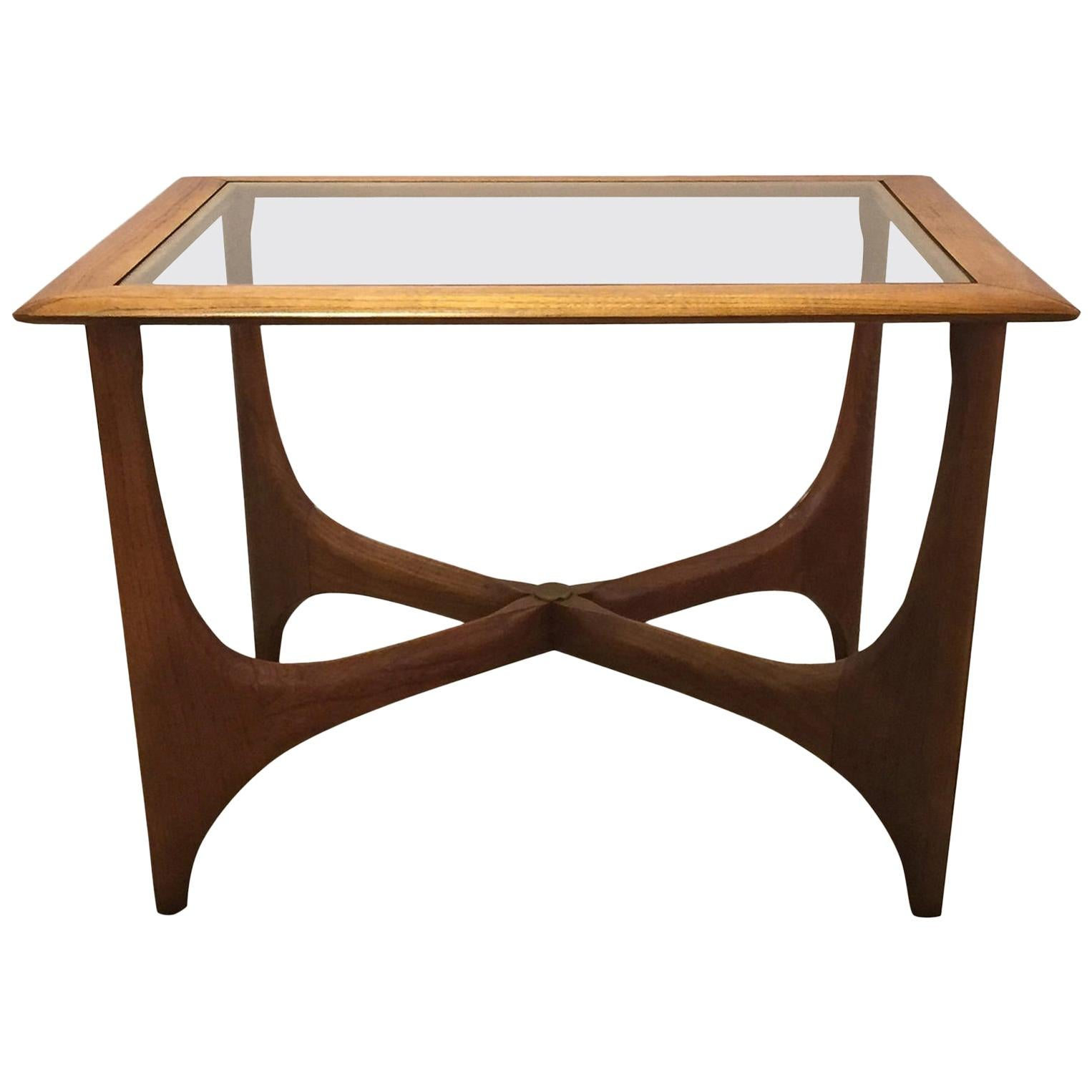 Pair of Midcentury Walnut and Smoked Glass End Tables with Rectangular Tops