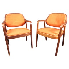 Pair of Midcentury Walnut Armchairs by Knoll